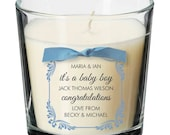 New baby newborn congratulations present personalised candle boy girl gift 038
