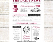 70th birthday present personalised gift. On the day you were born year 1950 poster newspaper A4 print for women her men