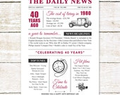 40th birthday present personalised gift. On the day you were born year 1980 poster newspaper A4 print for women her men