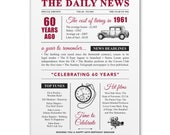 60th birthday present personalised gift. On the day you were born year 1961 poster newspaper A4 print for women her men