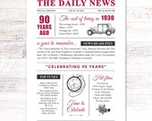 90th birthday present gift. On the day you were born year 1930 poster newspaper A4 print for women her men
