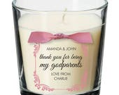 Godparents present personalised candle christening naming ceremony baptism thank you gift 021