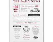 100th birthday present gift. On the day you were born year 1921 poster newspaper A4 print for women her men