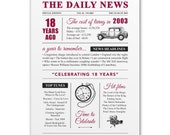 18th birthday present gift. On the day you were born year 2003 poster newspaper A4 print for women her men