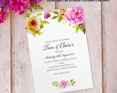 Day wedding invitations, flat postcard invites wedding cards. Personalised vintage flower floral rose design. 10 pack (FLF_01)