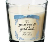 Good bye good luck present personalised candle exams driving test job new job gift 028