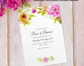 Evening wedding invitations invites cards reception party guest. Personalised vintage flower floral rose design. 10 pack FLF_02
