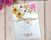 Bundle wedding invitations bundle set cards invites, hessian twine RSVP. Personalised vintage flower floral rose design. 10 pack FLB_01