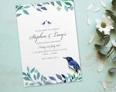 Silver wedding anniversary invitations invites cards. Personalised love bird vintage design. 10 Pack BDF_04