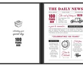 100th birthday on the day you were born newspaper folder book year 1920