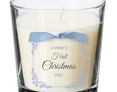 Baby's first christmas present personalised candle Godchild Child Newborn Baby Gift XM07
