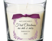 First Christmas as Mr & Mrs married marriage christmas present personalised candle newly weds xmas Gift XM06