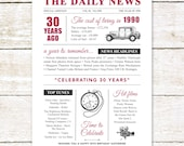30th birthday present personalised gift. On the day you were born year 1990 poster newspaper A4 print for women her men