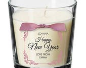 Happy New year 2018 hogmanay celebration present personalised christmas candle NYE Gift XM10