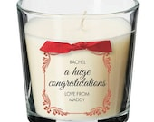 Congratulations present personalised candle promotion well done gift 025