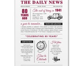 80th birthday present gift. On the day you were born year 1941 poster newspaper A4 print for women her men