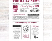 100th birthday present gift. On the day you were born year 1920 poster newspaper A4 print for women her men