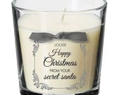 Secret Santa present personalised christmas candle Surprise Anonymous Gift XM04