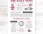 18th birthday present gift. On the day you were born year 2002 poster newspaper A4 print for women her men