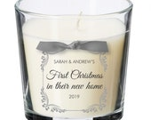 First Christmas together in their our new home christmas present personalised candle House gift XM08