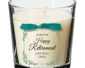 Retirement present personalised candle leaving work retiring party gift 026