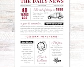 40th ruby wedding anniversary gift present vintage newspaper A4 print year 1980 on the year you were married