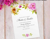 Golden wedding anniversary invitations invites cards. Personalised floral flower vintage design. 10 Pack FLF_07