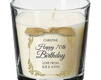 70th Birthday Present Personalised Gift Candle Gifts For Women Her Men Decorations Party All Ages 037