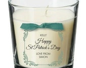 St Patricks Day present for him her personalised gift candle women men SE05