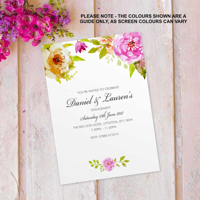 Engagment Party invitations invites cards. Personalised floral image 0