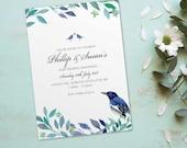 Ruby wedding anniversary invitations invites cards. Personalised love bird vintage design. 10 Pack BDF_06