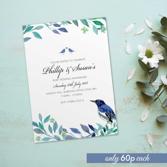 Ruby Wedding Anniversary Invitations Invites Cards Personalised Love Bird Vintage Design 10 Pack Bdf 06