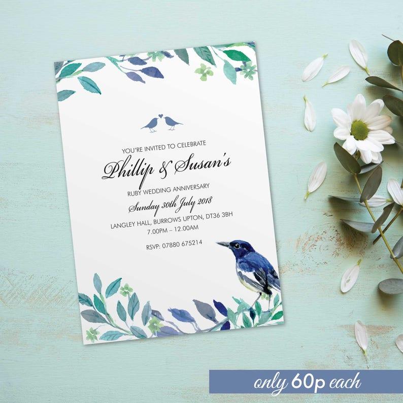 Ruby wedding anniversary invitations invites cards. image 0