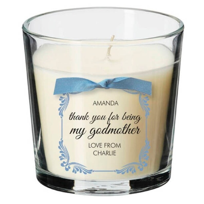 Godmother present personalised candle christening naming image 0