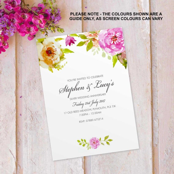 Silver Wedding Anniversary Invitations Invites Cards Personalised Floral Flower Vintage Design 10 Pack Flf 04