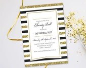 Charity Ball party dinner invitations. Evening disco  glitter black tie cards invites. Personalised, 10 Pack GLF_12