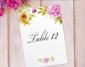 Table Number Name Cards Printed Wedding Tables 12 - 23, Vintage Floral design with Flowers, 12 pack FLC_04