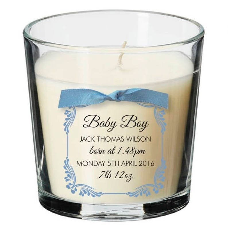 Baby boy girl newborn new arrival bundle personalised candle image 0
