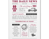 60th diamond wedding anniversary gift present vintage newspaper A4 print year 1961 on the year you were married