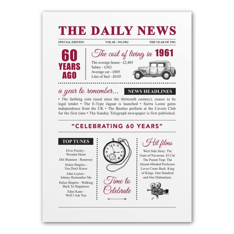 60th diamond wedding anniversary gift present vintage image 0
