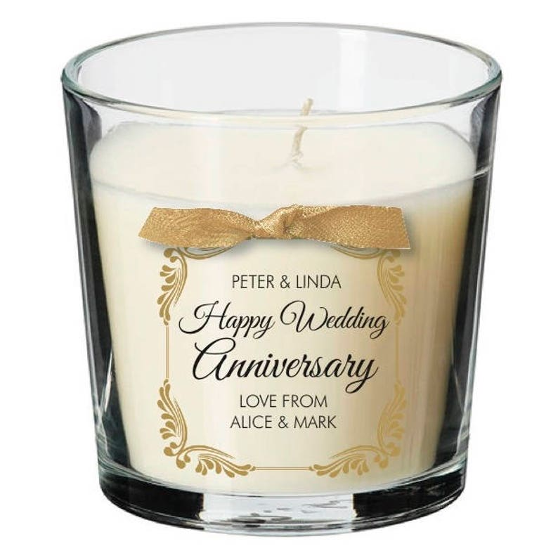 Wedding Anniversary present party personalised candle wife image 0