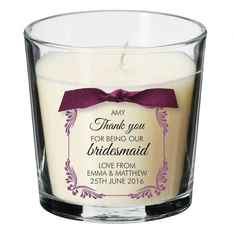 Bridesmaid thank you present personalised candle present image 0