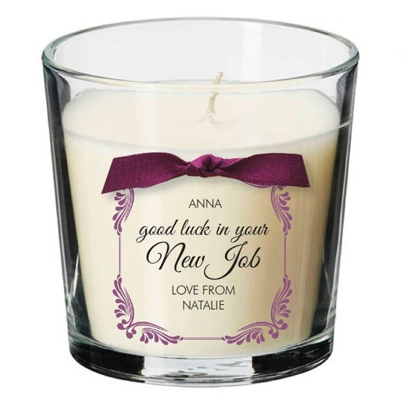 New job leaving present personalised candle promotion sorry image 0