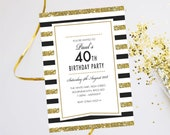 Birthday party invitations. Evening disco cards invites. Personalised, 10 Pack GLF_13