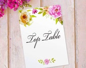 Table Number Name Cards Printed Wedding Top Table - Tables 11, Vintage Floral design with Flowers, 12 pack FLC_04