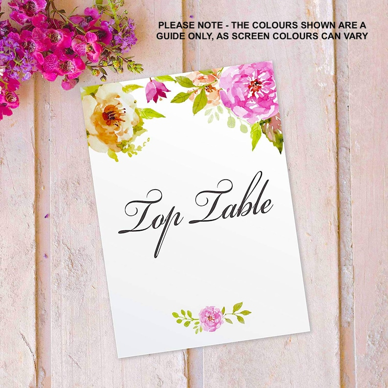 Table Number Name Cards Printed Wedding Top Table  Tables 11 image 0