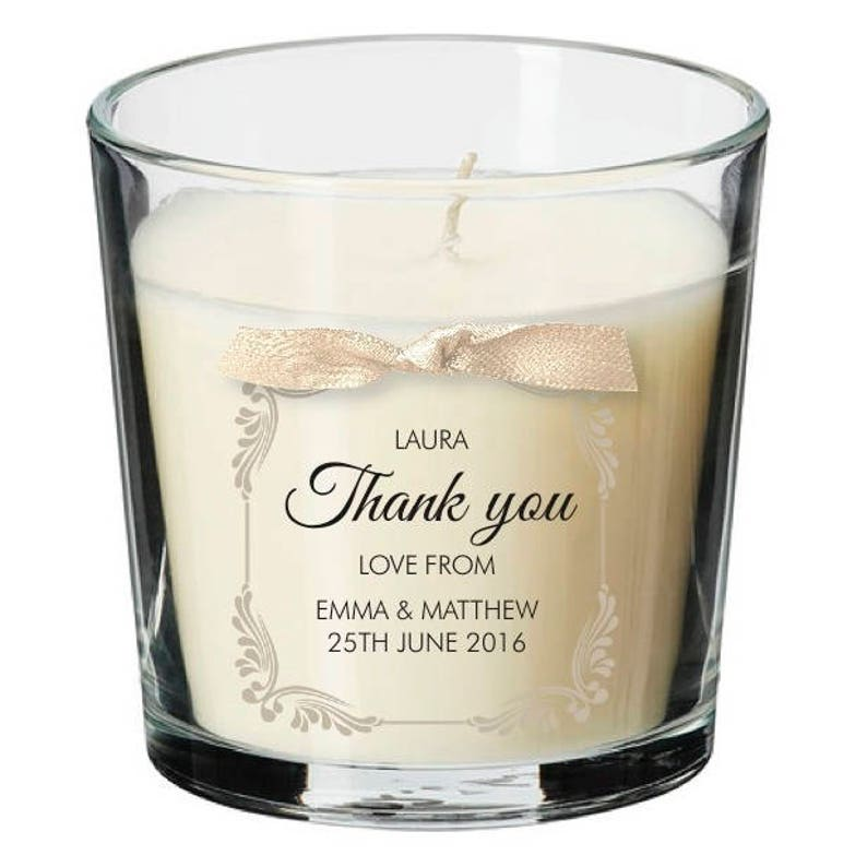 Wedding Party Guests present personalised candle wedding thank image 0