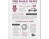 50th birthday present gift. On the day you were born year 1971 poster newspaper A4 print for women her men