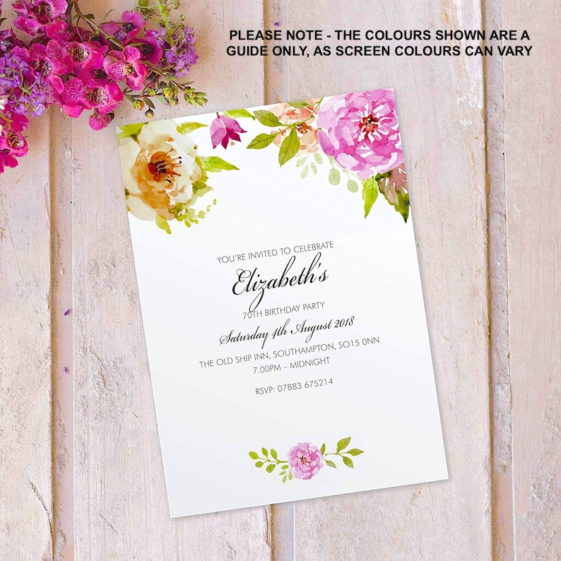 Birthday party invitations for women floral cards invites. image 0