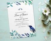 Day wedding invitations, flat postcard invites wedding cards. Personalised love bird vintage design. 10 pack (FLF_01)
